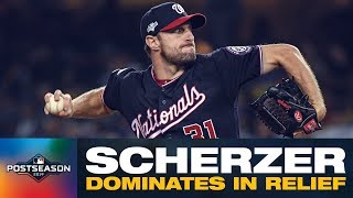 Nationals' Max Scherzer strikes out side in relief appearance against Dodgers | NLDS Highlights