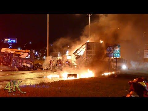 Montréal: Accident spectaculaire avec incendie / Dramatic crash with truck on fire 8-23-2018