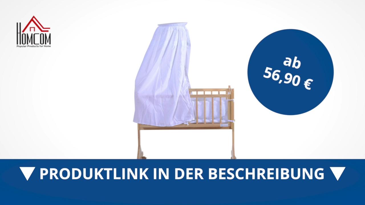 Homcom Babywiege Schaukelwiege Stubenwagen Mit Bettwäsche Weiß