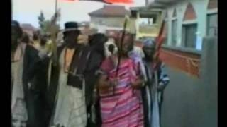 Ogun Festival Ile-Oluji,Ondo State,Nigeria.Chief and their family dancing to the palace.