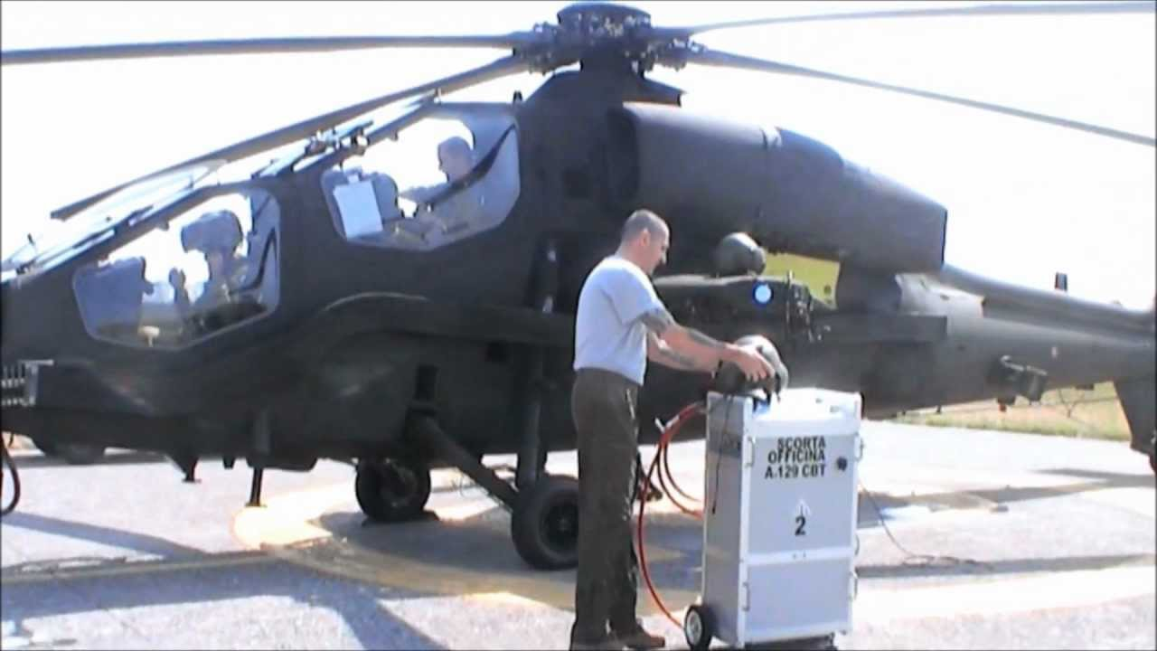 Elicottero T 129 : A129 mangusta running engine washing youtube