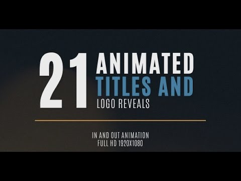 21 Minimal Title and Logo Animation - After Effects Template - YouTube - animation title