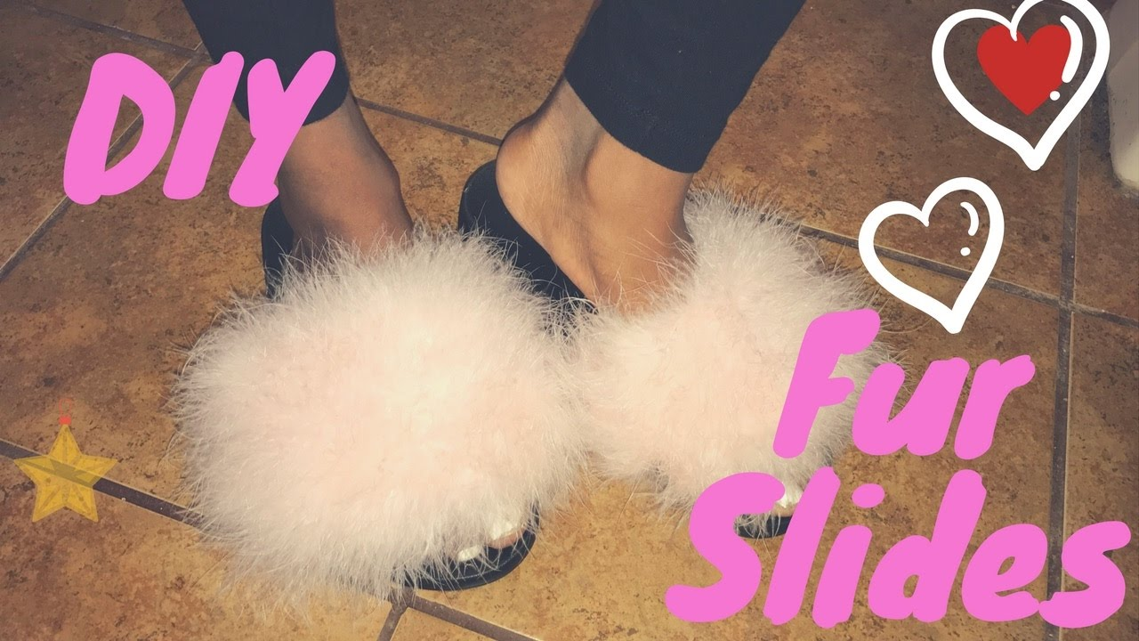 bd05dbbe7869 HOW TO  DIY FUR SLIDES - YouTube