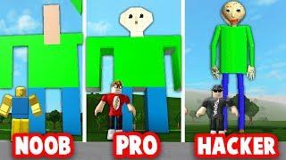 Roblox Bloxburg BUILD OFF: NOOB vs PRO vs HACKER! (BALDI'S BASICS)