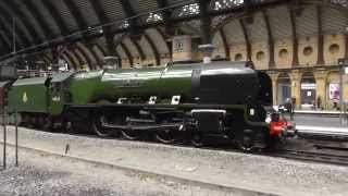 LMS No 46233 Duchess of Sutherland and BR(S) 34046 Braunton at York   14th June 2014