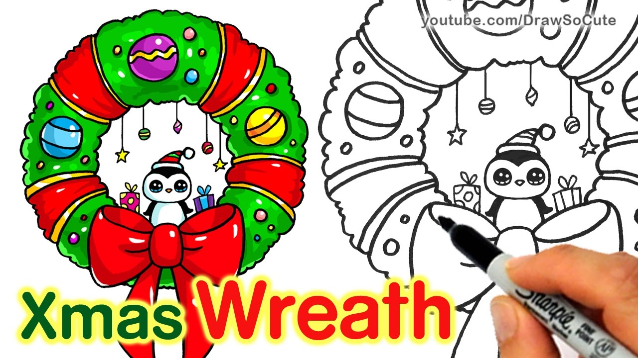 Drawings Of Christmas Wreaths.How To Draw A Christmas Wreath And Bow Step By Step Easy And Cute