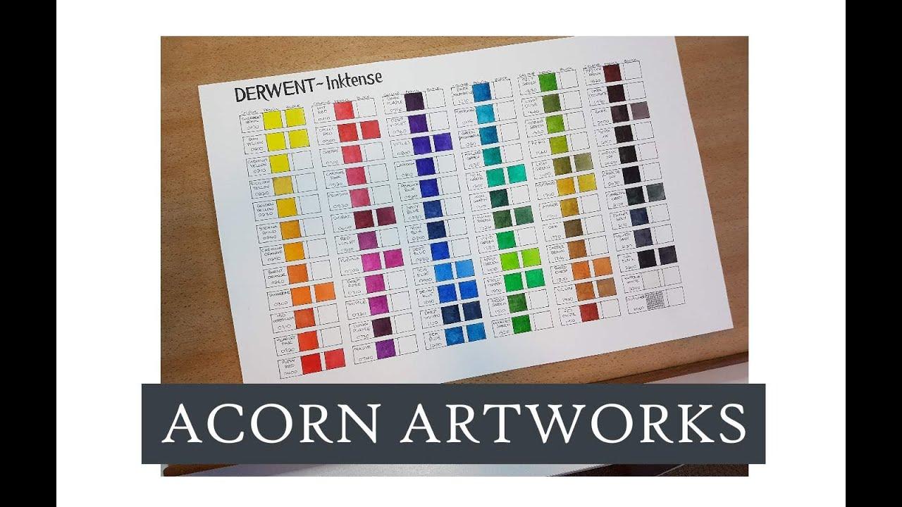 Acorn Artworks Making A Derwent Inktense Colour Chart Youtube