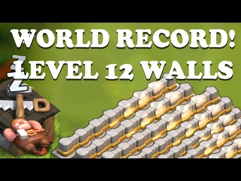 WORLD RECORD - Clash Of Clans   All Walls FARMED To Level 12 In 4 Weeks!   Sleeping Builder Glitch!