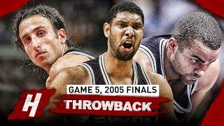 Tim Duncan, Tony Parker & Manu Ginobili Game 5 Highlights vs Pistons 2005 NBA Finals - EPIC Night!