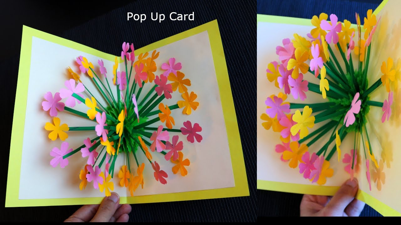 3D Paper Flower Pop up Card - Paper Crafts - DIY Pop up Card
