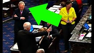 the MOMENT John McCain votes NO & leaves McConnell stunned
