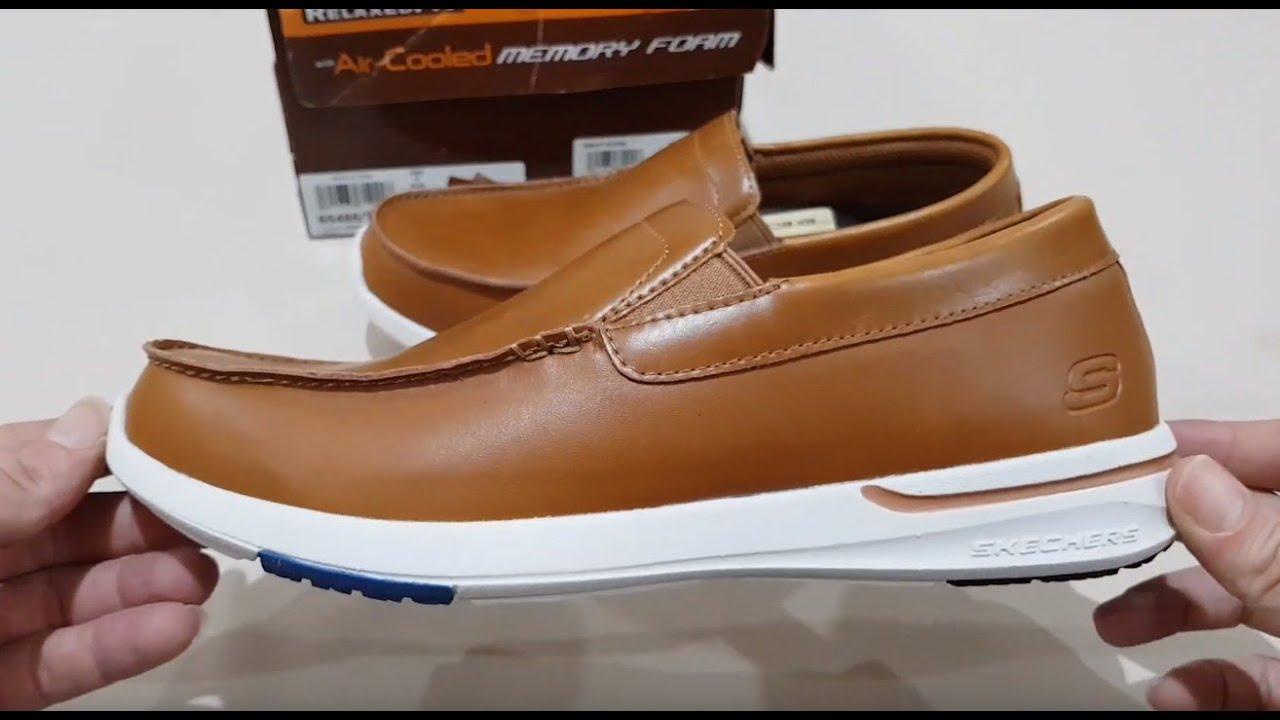 Brown Skechers Dressy Shoes Men/'s 65486 Leather Memory Foam Slipon Loafer Casual