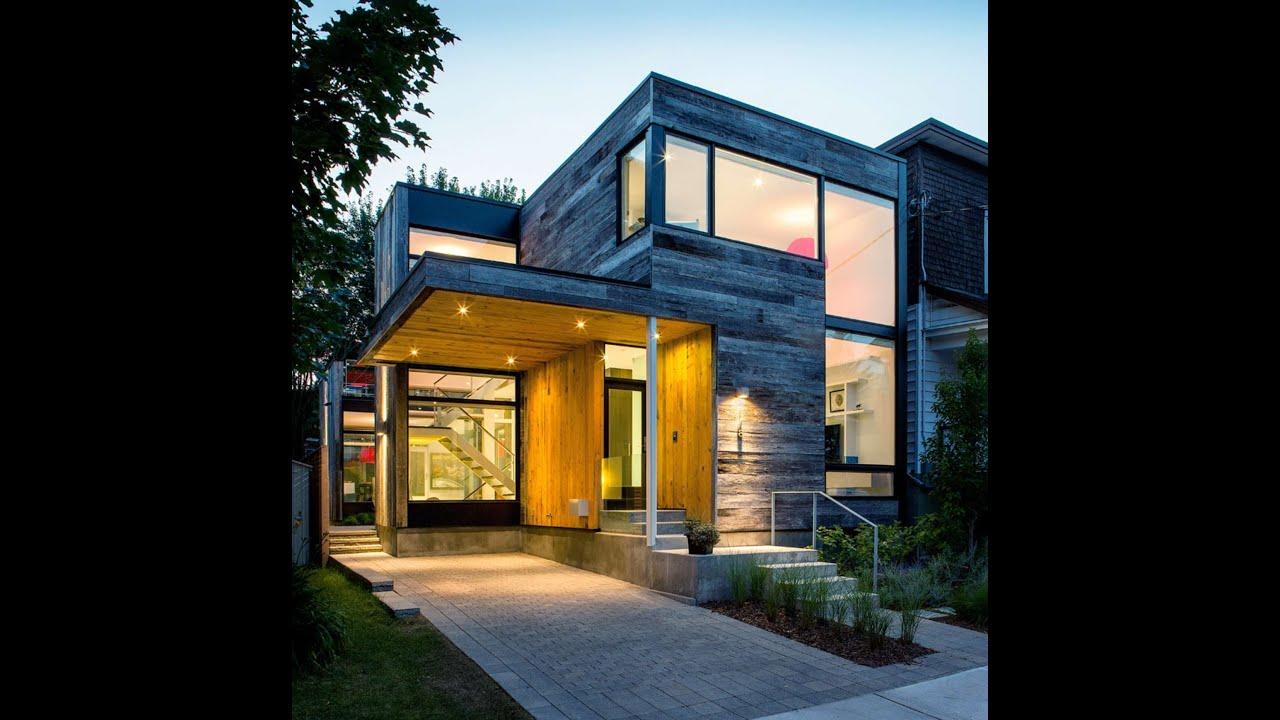 Dise o de casa en esquina con fachada de madera youtube for Diseno de fachadas