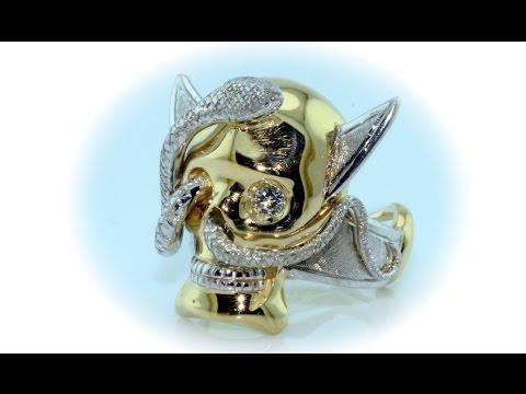 Skull 18kt gold ring handmade