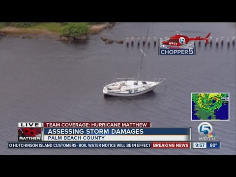 Chopper 5 aerials after Hurricane Matthew along the Palm Beach County coast