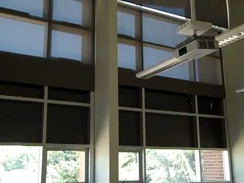Motorized mecho shade in commercial application for Motorized shades los angeles