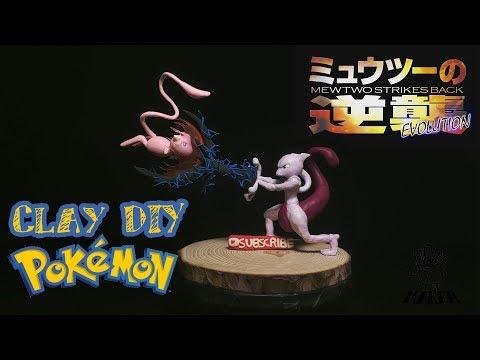 Pokémon Clay -  Mewtwo Strikes Back | Mewtwo vs Mew | DIY Polymer Clay / Lightweight Clay Tutorial