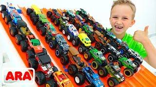فلاد ونيكيتا يلعبان بشاحنات وحش لعب | سيارات هوت ويلز للأطفال