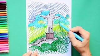 How to draw and color the Christ the Redeemer - Rio De Janeiro, Brazil