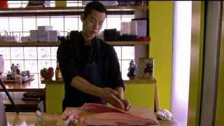 Sushi chef teaches how to fillet and portion hamachi for sushi and sashimi