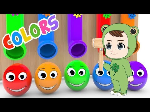 Baby Learn musical instrument names with Surprise Eggs, Soccer Ball | Kids Learning English