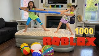Last one to fall of the Inflatable Bed wins $1000 Roblox