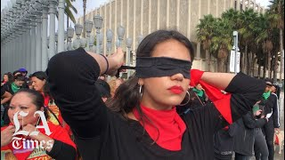 The protest performance 'Un violador en tu camino' created by Lastesis performed at LACMA