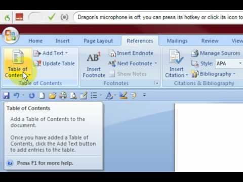 how to make automatic table of contents in word 2007