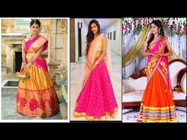 Latest Half Saree Designs, Pattu Langa Voni, Pattu Pavadai Voni Designs | Million Designs