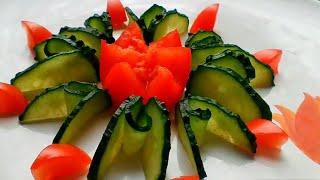 Как красиво нарезать огурцы и помидоры/ Красивая подача овощей на стол