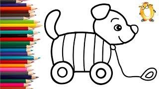Розмальовка для дітей ІГРАШКА ПЕСИК. Мультик - Розмальовка. Вивчаємо кольори II ОБУЧАШКА ТБ