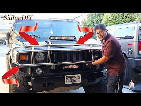 How To Replace | Upgrade HUMMER Black Grille Guard To Chrome Grille Guard | H2 Grille Guard Upgrade