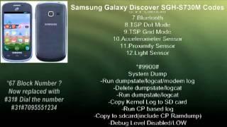 Samsung Galaxy Discover SGH-S730M Codes