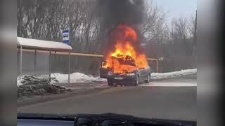 В Туле сгорела легковушка