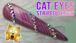 Cat Eyes Striped/Unicorn Horn Design with Bling