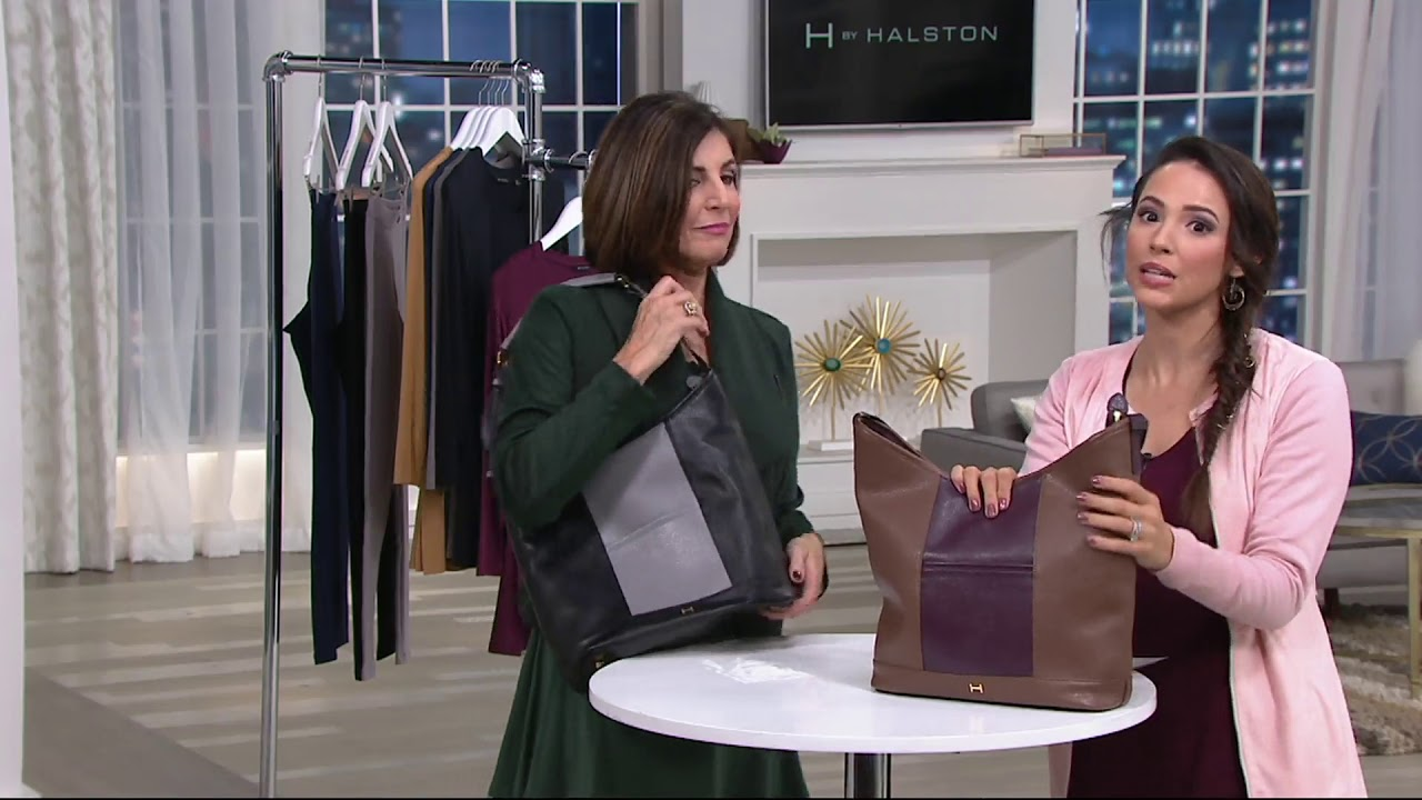 59dbe95f52 H by Halston Pebble Leather Color-Block Hobo Handbag on QVC - YouTube
