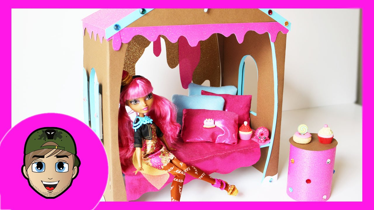 how to make a ginger breadhouse doll bed tutorial ever after high youtube. Black Bedroom Furniture Sets. Home Design Ideas