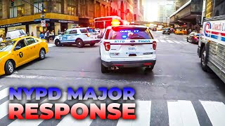 NYPD - 42ND STREET 3 Units MAJOR RESPONSE [Rumbler Siren in Midtown Traffic]