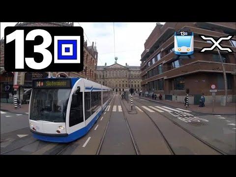 🚋 GVB Amsterdam Tramlijn 13 Cabinerit Remise Havenstraat - Geuzenveld - Centraal Station Driver view