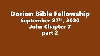 September 27th, 2020-Pastor Don Shaver (Dorion Bible Fellowship)