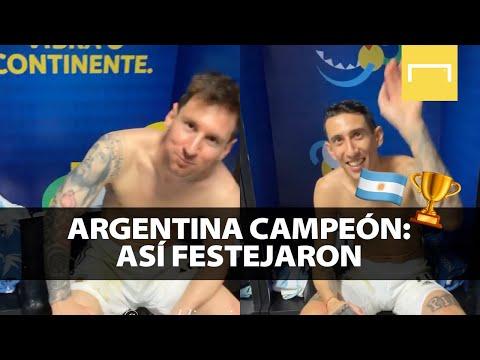 La fiesta en el vestuario de Argentina tras ser campeón de la Copa América