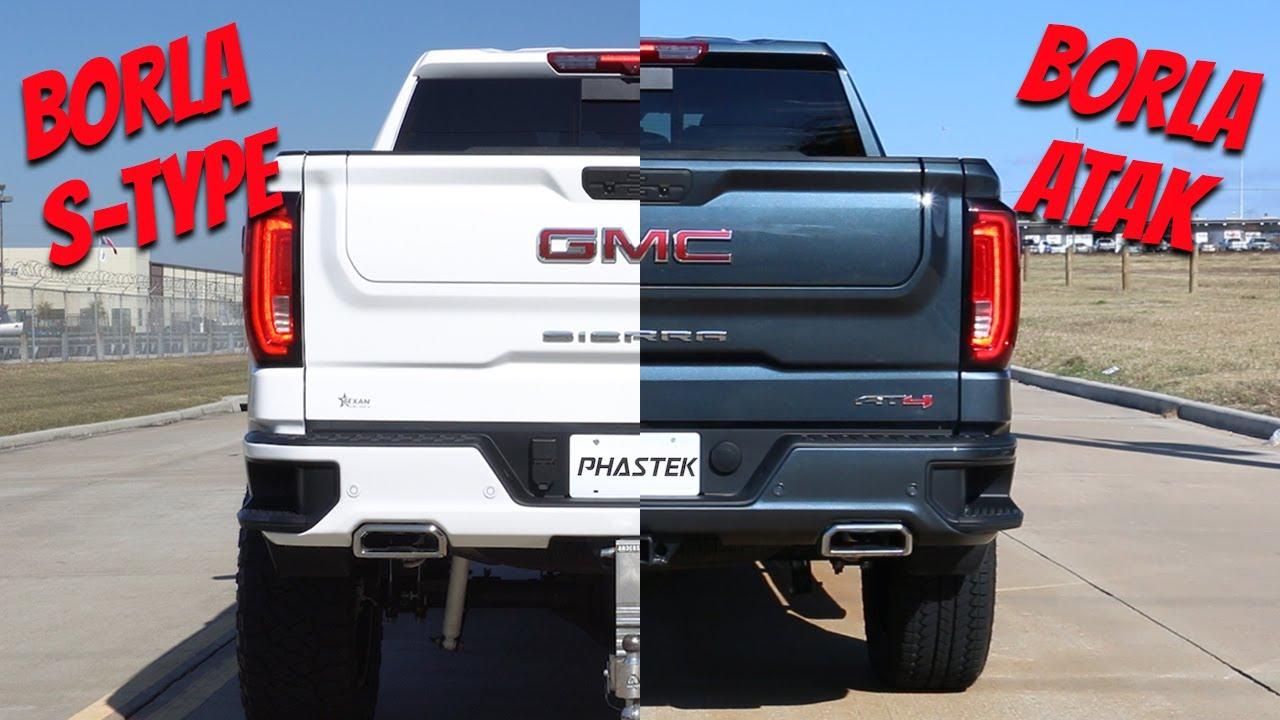 borla gmc sierra s type exhaust vs borla gmc sierra atak exhaust phastek