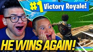 OMG NO WAY! MY 9 YEAR OLD LITTLE BROTHER REALLY *WON* HIS SECOND FORTNITE SOLO GAME! (HES TOO GOOD!)