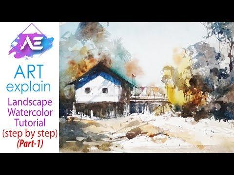 How to Village Watercolor Landscape Painting Tutorial (Part 1) | Art Explain