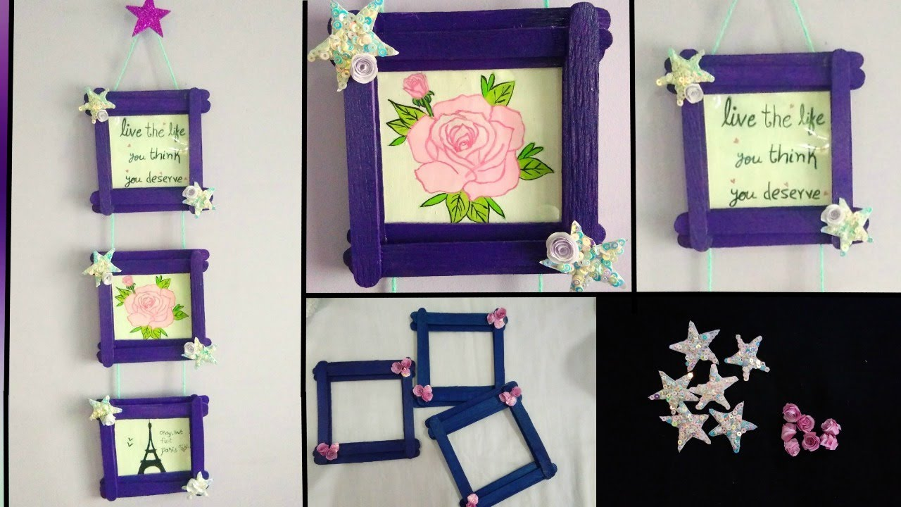 Easy Photo Frame Using Popsicle Sticks Ice Cream Sticks Room Decor Youtube