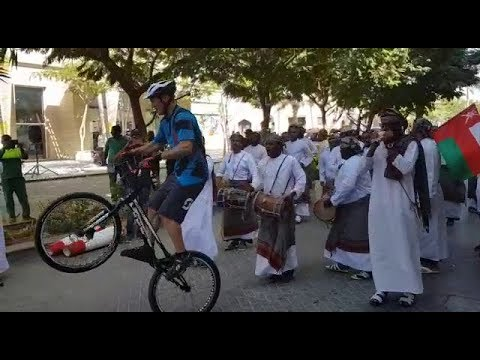 French cyclist Bruno Janin dances to traditional Omani music — on a bike!