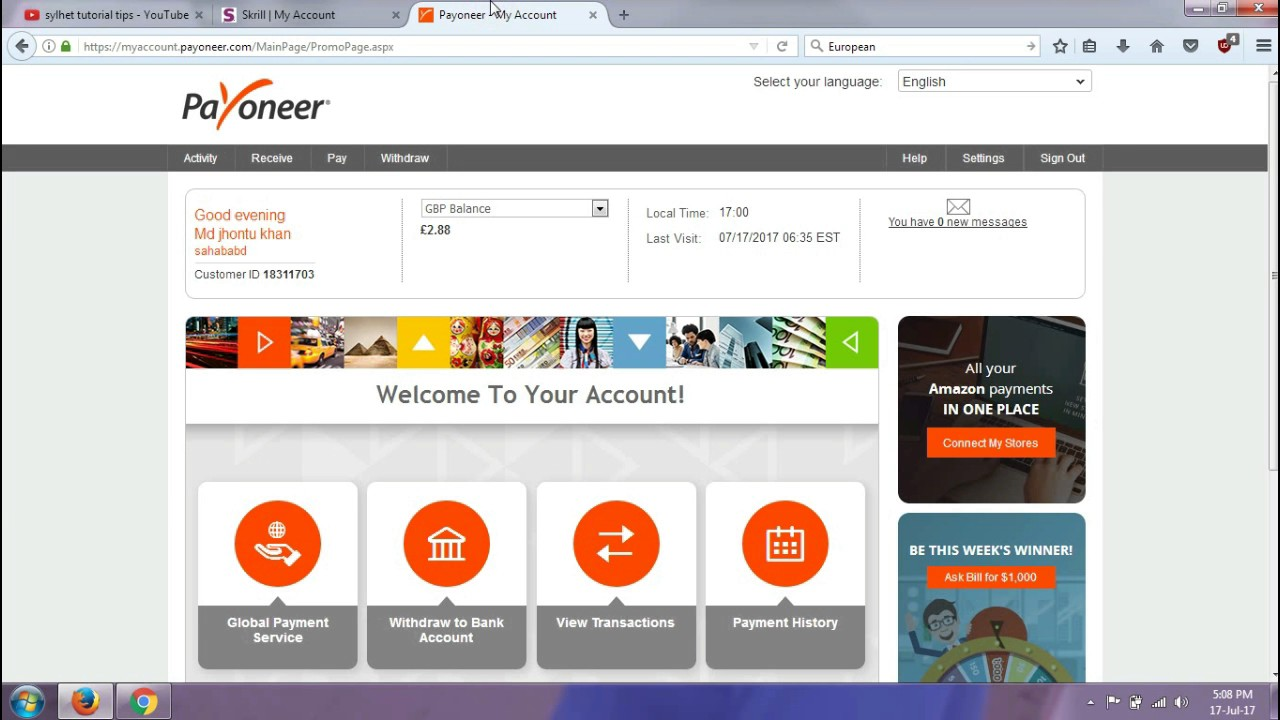 Us Add - Skrill Youtube Bank Service To Account Payoneer