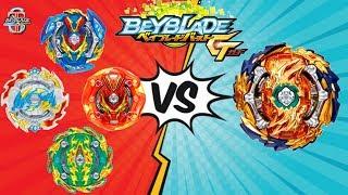 Бейблейд БИТВА Волшебный Фафнир Ф5 VS ВСЕ беи 4 сезона аниме Beyblade Burst GT