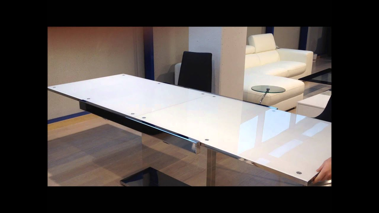C mo se abre la mesa de comedor extensible de cristal - Mesa de comedor cristal ...
