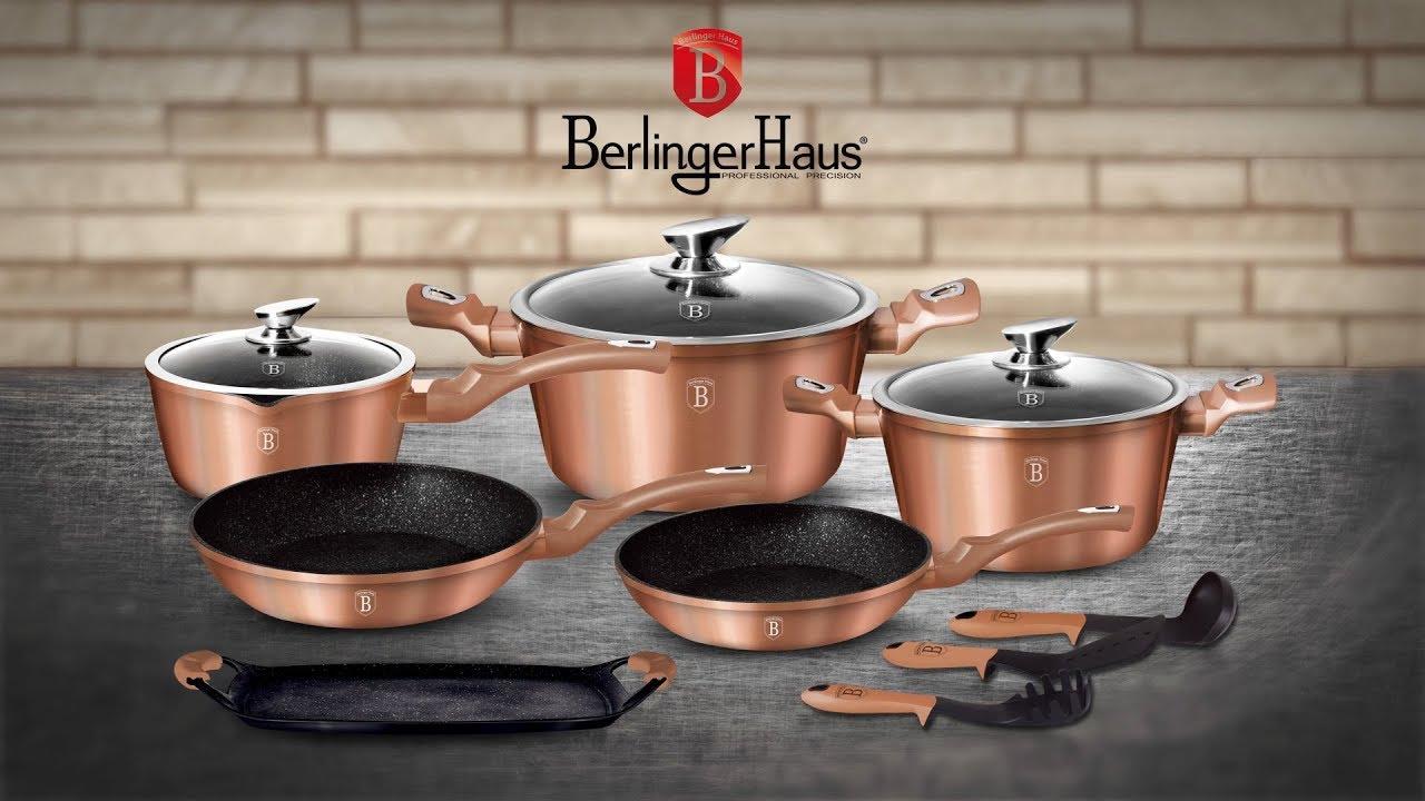 Berlinger Haus Metallic Line Rosegold Edition 12+2 Pcs Cookware Set  Presentation [BH-1696] - YouTube